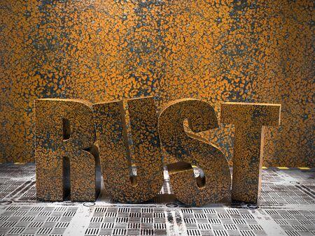 3d render of metallic corroded and peeling RUST text on metal floor against rusty peeling metal wall
