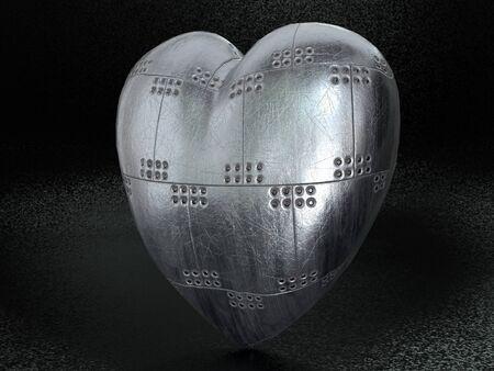 3D render of metal armored heart on dark background