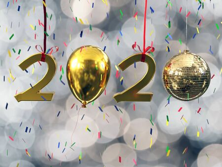 New Year 2020 date composed of golden digits, ballon and shiny disco ball against blurred background