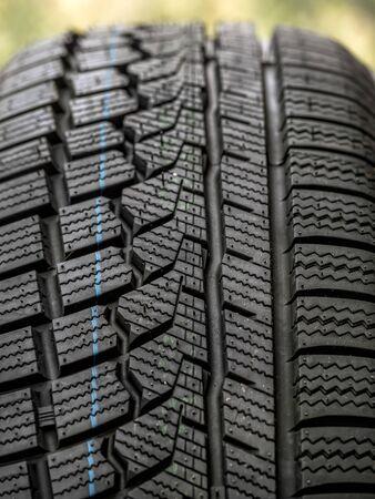 Closeup of new winter car tire