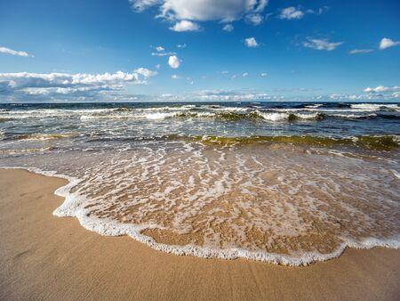 Seascape with summer sandy beach of Baltic Sea, Poland Reklamní fotografie