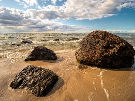 Sandy beach with some boulders, Baltic sea, Poland
