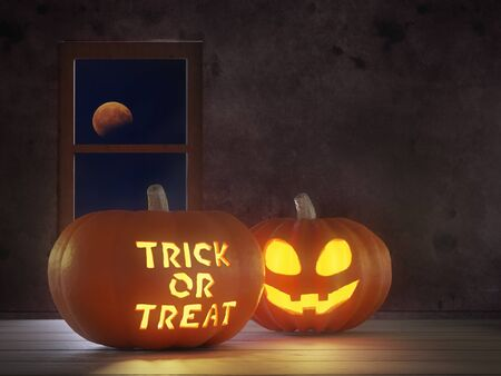 3D render of Jack-o-lantern pumpkins placed on the wooden floor against window with the bloody moon night sky