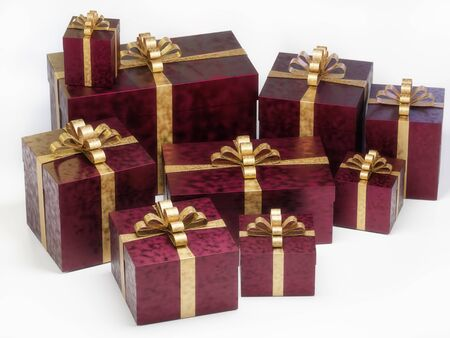 Bunch of elegant christmas present boxes on white background