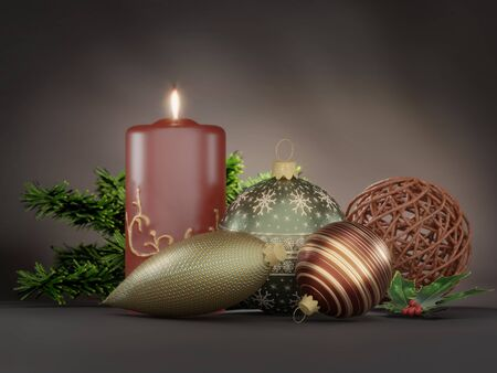 3D render of Christmas wreath decoration with lit candle, xmas balls, fir twig over dark brown background