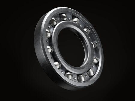Nuovo cuscinetto a sfere in acciaio su sfondo nero Archivio Fotografico