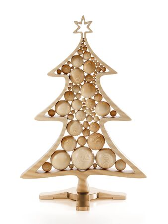 3D render of wooden christmas tree with balls on stand over white background