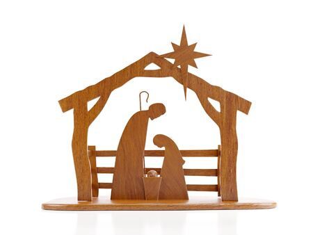 Christmas crib native scene cut out from wood over white background