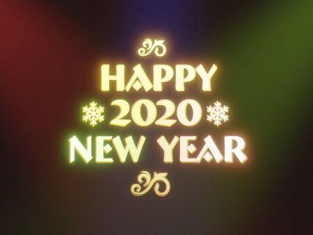 3D rendering of glowing Happy 2020 New Year wish Standard-Bild
