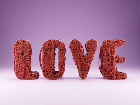 3D render of tangled red string heart on light purple background Banco de Imagens