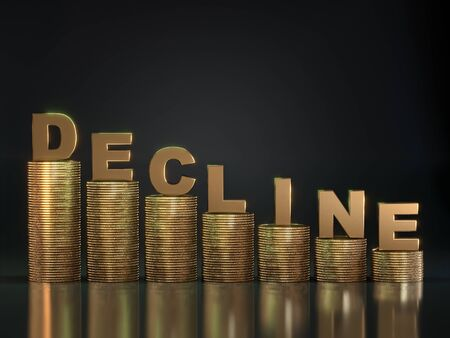 3D rendering of golden Decline word placed on piles of golden coins arranged in descending way over black background