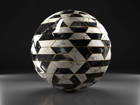 3D render of black and white tiled sphere with golden seams on gray