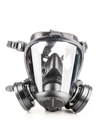 Full facepiece respirator with interchangeable filter cartridges shot over white