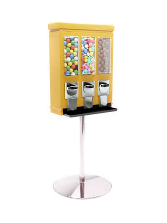 3D rendering of yellow vending machine with colorful candies on white Banque d'images
