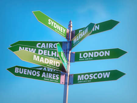 3D render of metal multidirectional roadsign indicating major world capitals with distances in kilometers Stock Photo