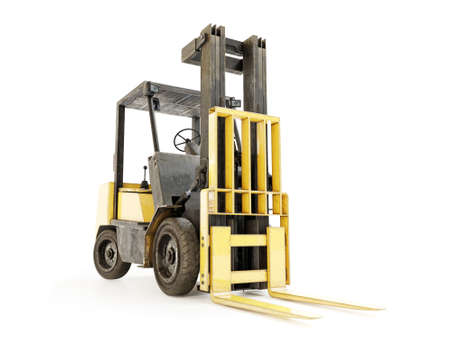 Old yellow forklift truck shot on white background Archivio Fotografico