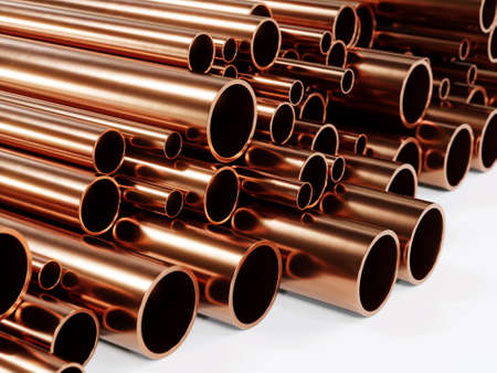3D rendering of pile of shiny copper pipes in various diameter
