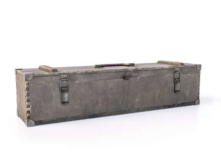 Old wooden military crate shot on white background Stockfoto
