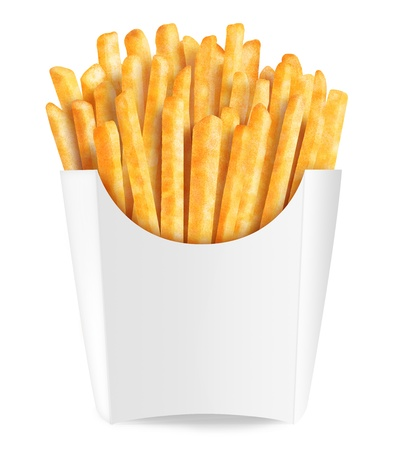 fries: Golden french fries in box.