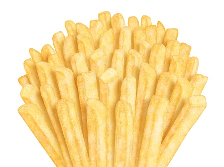Bunch of french fries, on white background