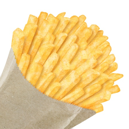 French fries in paper bag, on white background photo