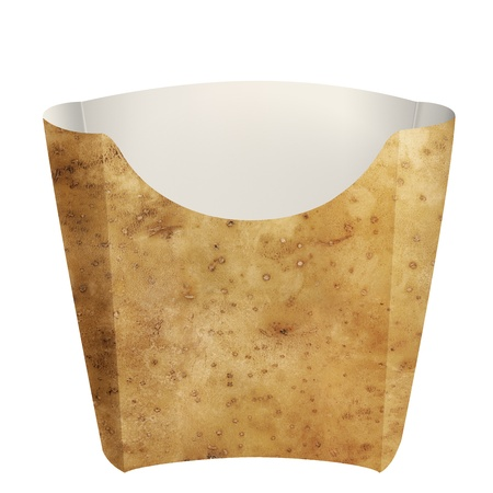 Empty potato packaging for french fries, on white background photo