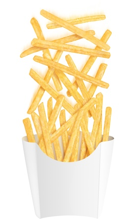Golden french fries falling into white packaging, on white background photo