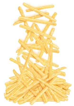 French fries falling on the heap, on white background Stock Photo