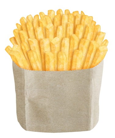 French fries in brown paper bag, on white background photo