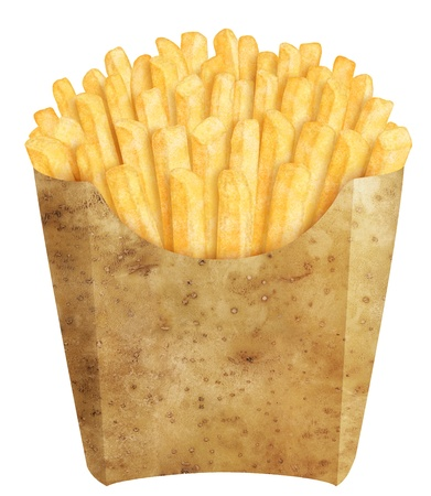 Golden french fries in potato packaging, on white background photo