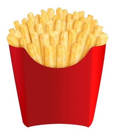 Golden french fries in red packaging, on white background photo