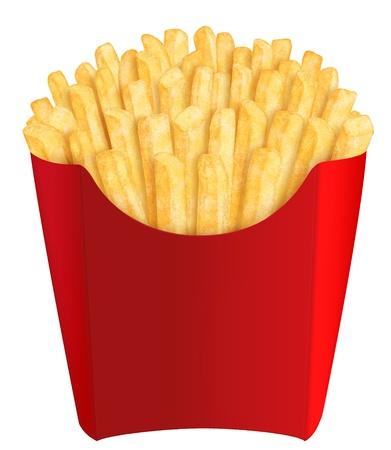 Oro francés fritas en un embalaje de color rojo, sobre fondo blanco