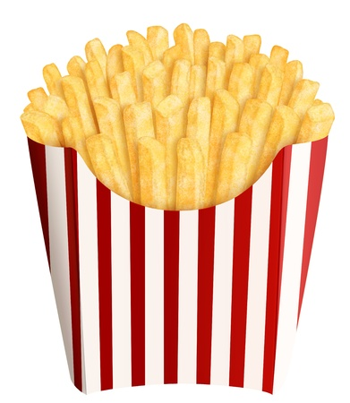 Golden french fries in stripes packaging, on white background photo