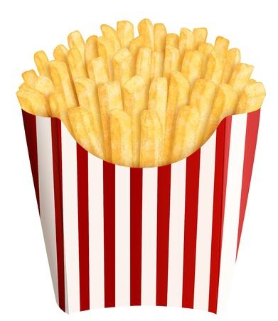 papas fritas: Oro franc�s fritas en tiras de envases, en el fondo blanco