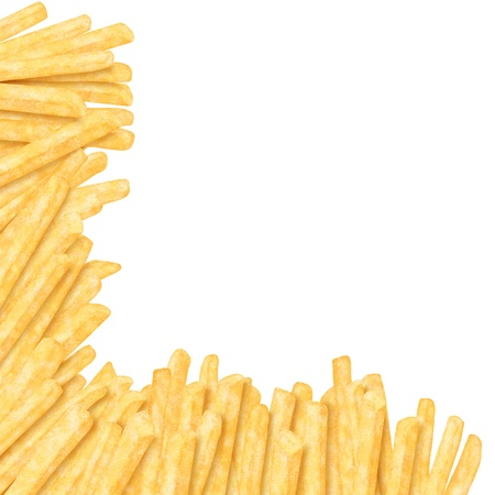 French fries in the corner, on white background photo