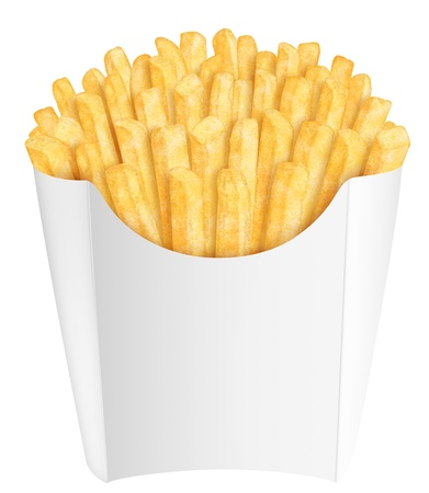 Golden french fries in white packaging, on white background