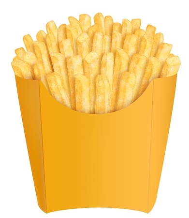 Golden french fries in yellow packaging, on white background photo