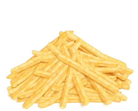 Heap of french fries, front view, on white background Stock Photo