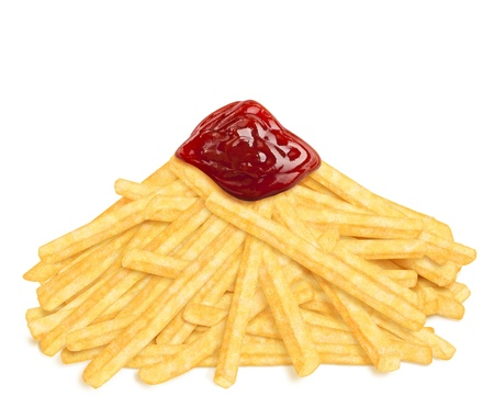 Heap of french fries with ketchup, on white background photo