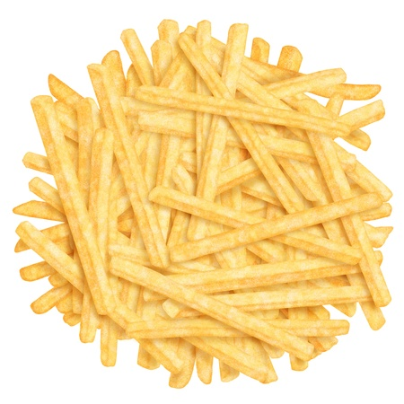 Heap of french fries, top view, on white background