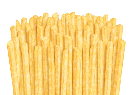 Row of french fries, on white background photo