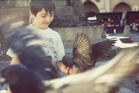Boy feeding pigeons in old town square