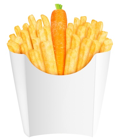 concept images: French fries with carrot in the packaging  Change your diet habits