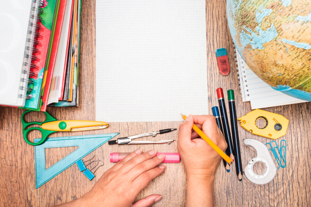Stock Photo   Top View Of School Accessories On A Desk