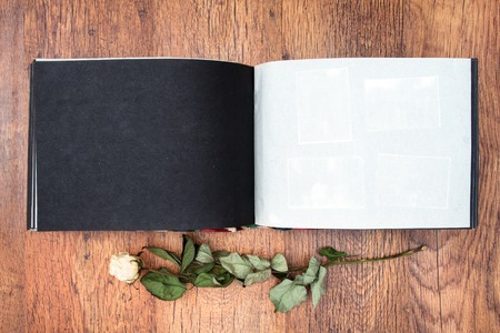 photo album book: Top view of open photo album book with withered rose next to this Stock Photo