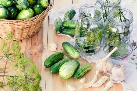 pickling: Preparing ingredients for pickling cucumbers