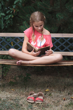persona leyendo: Muchacha que lee un libro en un banco en el parque Foto de archivo