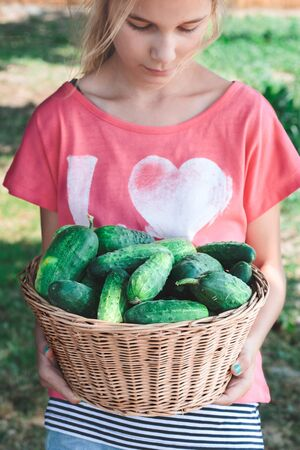 Front shot of girl carrying wicker basket with cucumbers