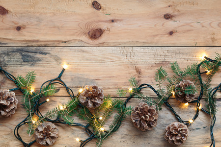 Christmas decoration with lights and pine twigs