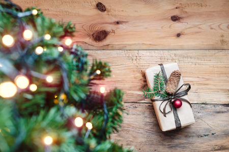 Christmas present under a tree Reklamní fotografie - 46179806